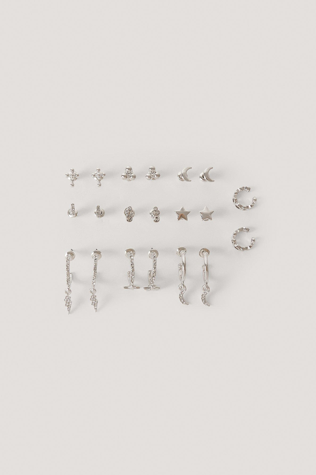 Silver 10-Pack Studs And Cuff Set