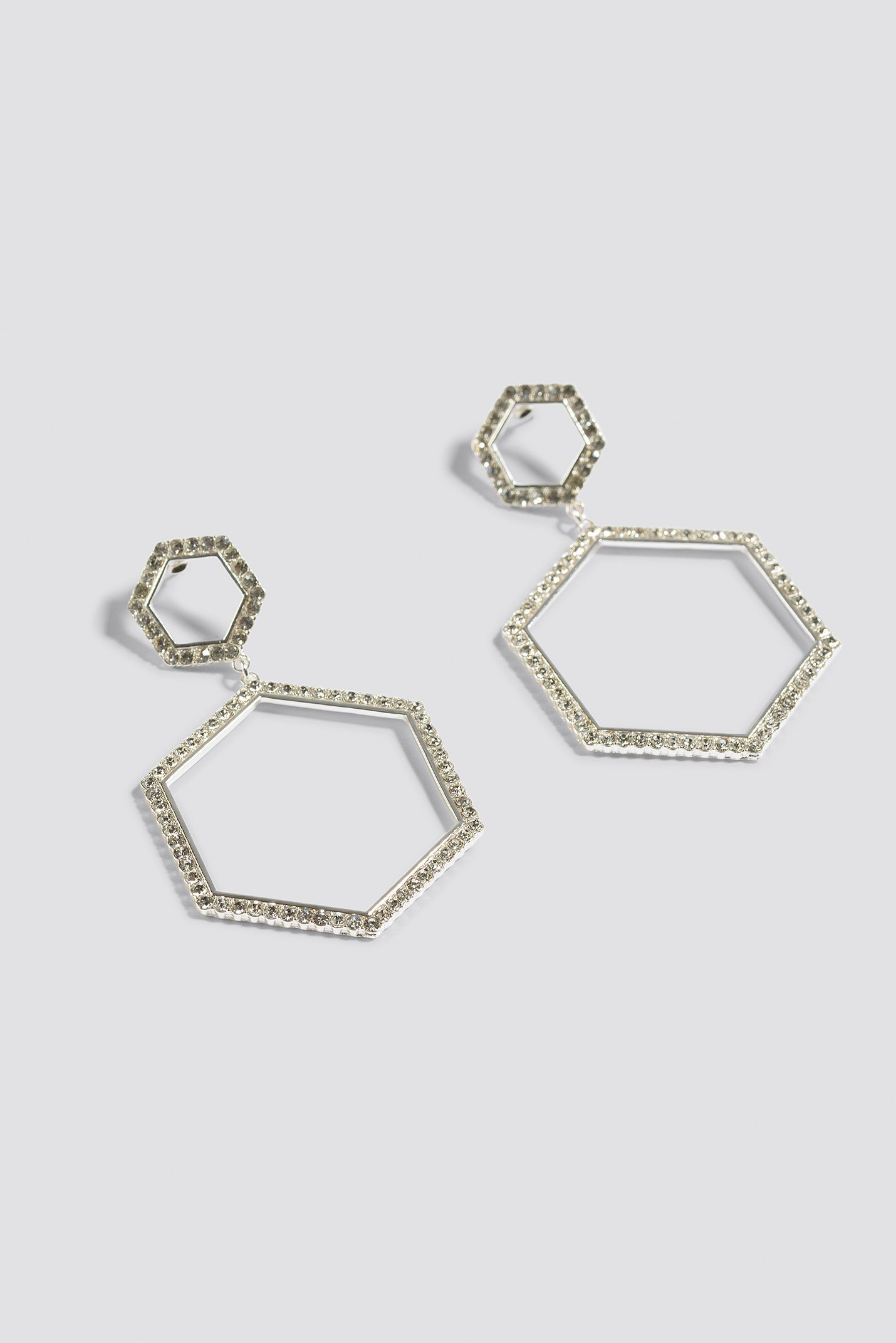 Rhinestone Hexagon Earrings NA-KD.COM