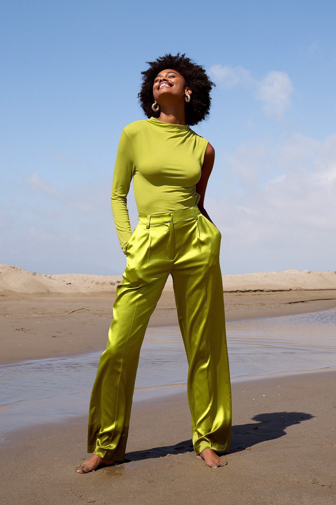 Green Wide Satin Pants