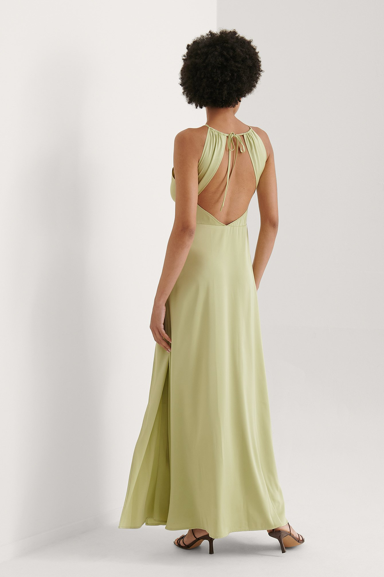 Dusty Green Open Back Slit Maxi Dress