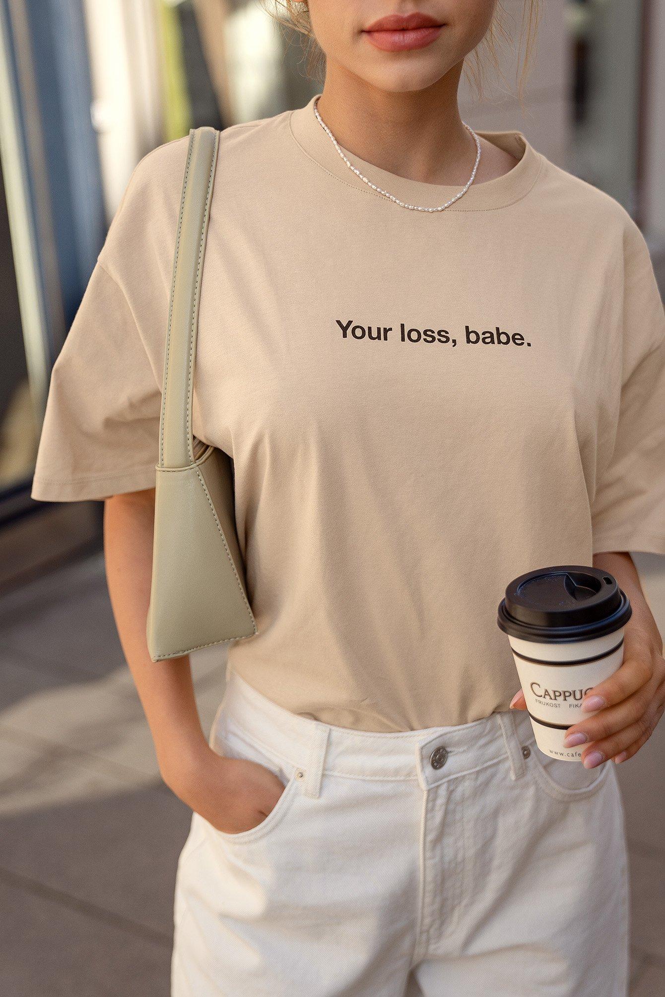 NA-KD Trend Økologisk Økologisk T-shirt Med Print - Beige