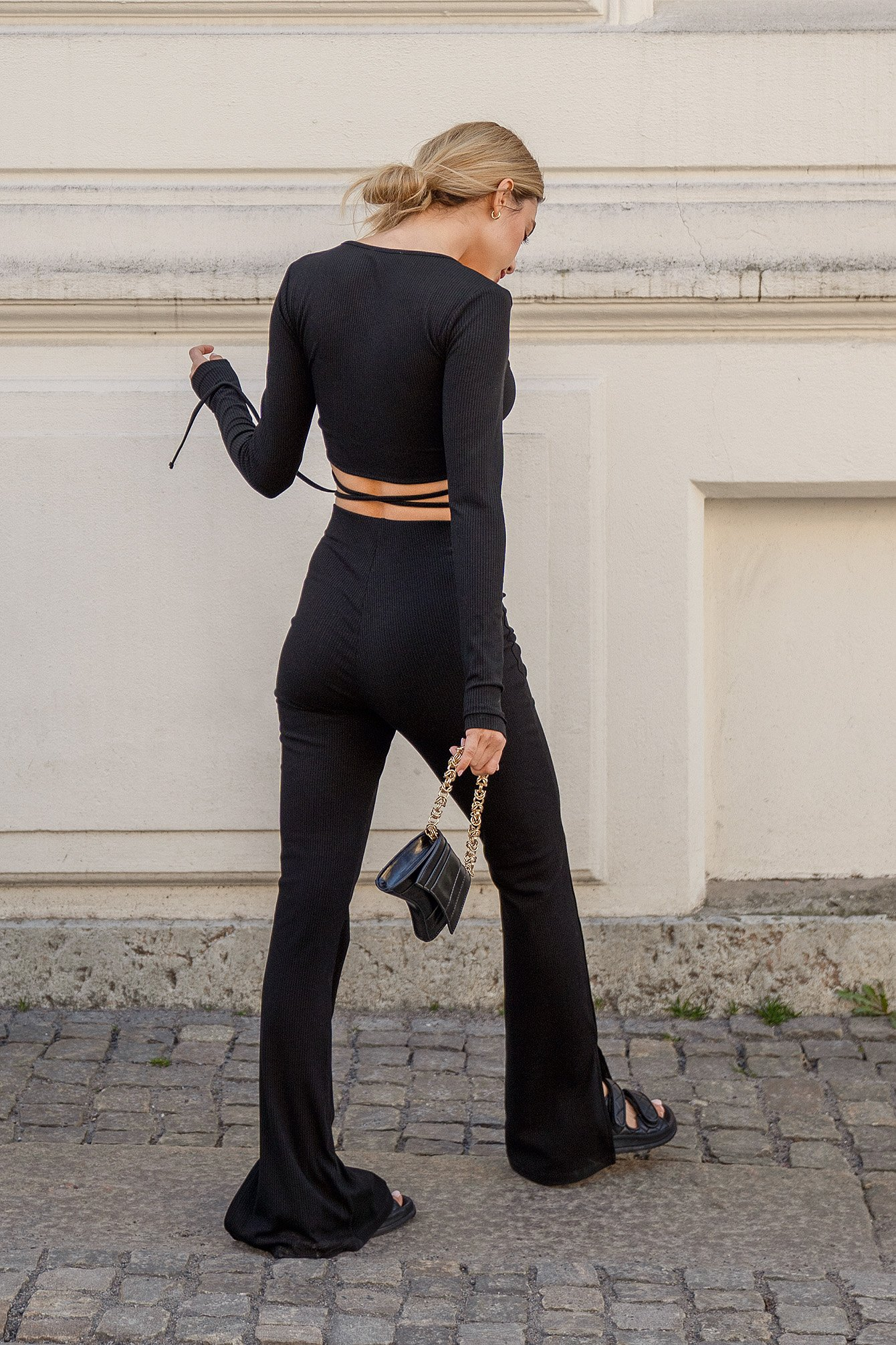 Black Slit Detail Ribbed Pants