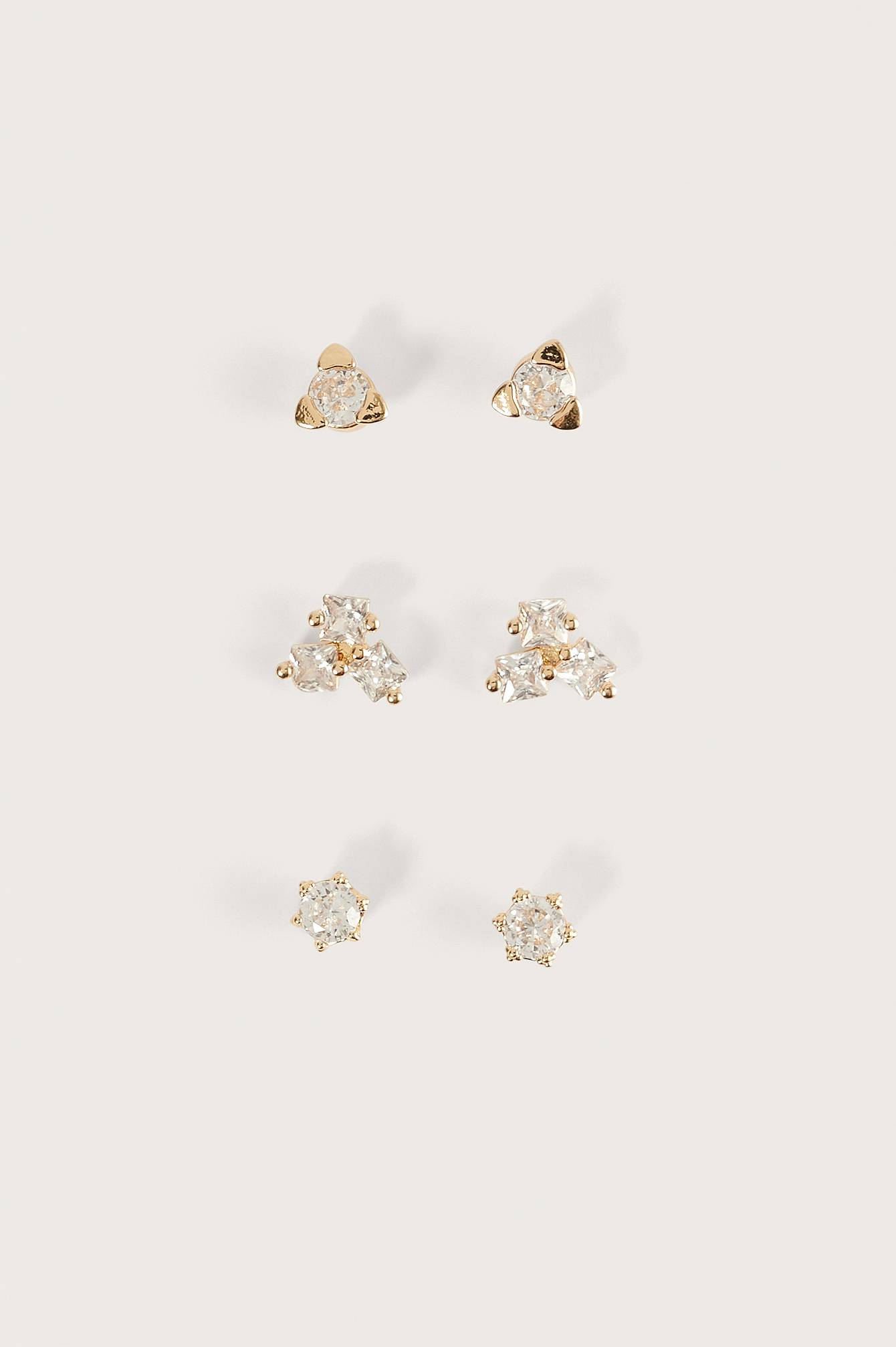 Gold 18K Gold Plated 3-Pack Earstuds