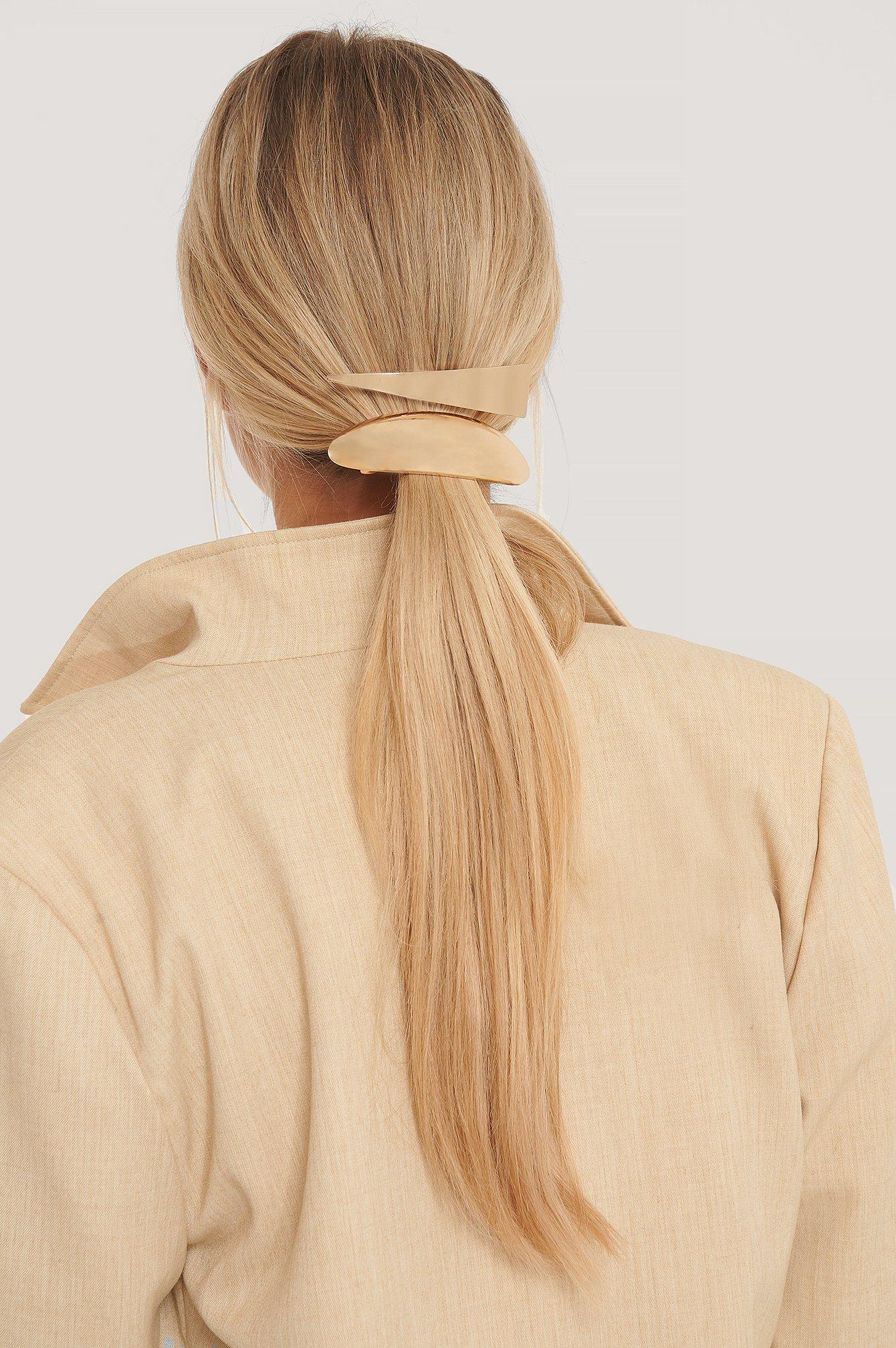 na-kd accessories -  2Er-Pack Große Haarspangen - Gold