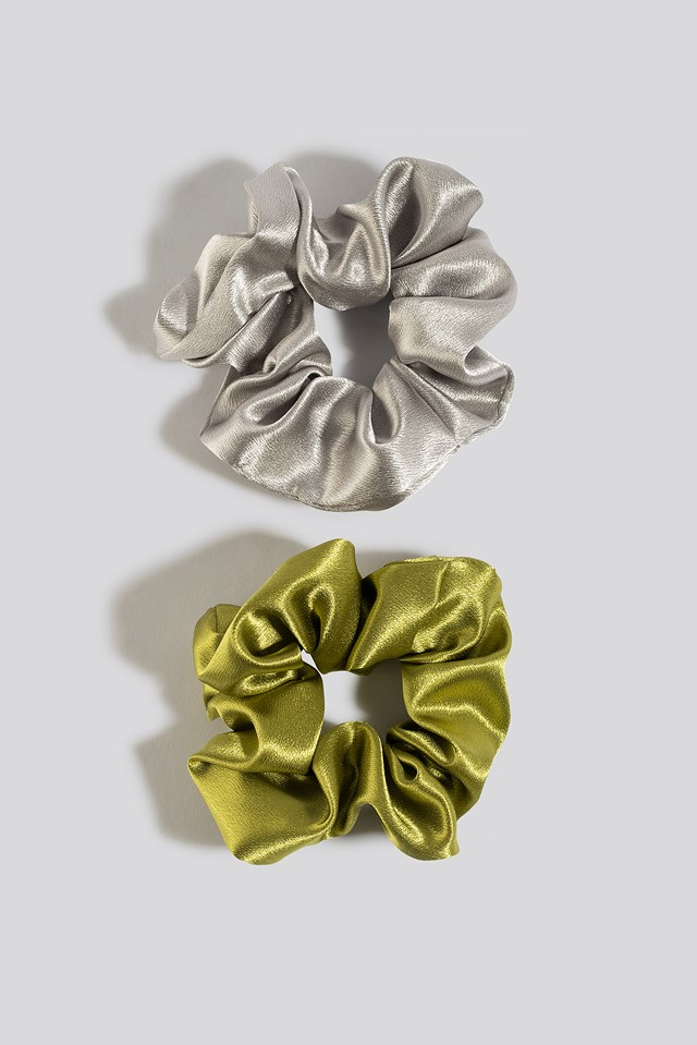 2-Pack Metall Scrunchies Green/Silver