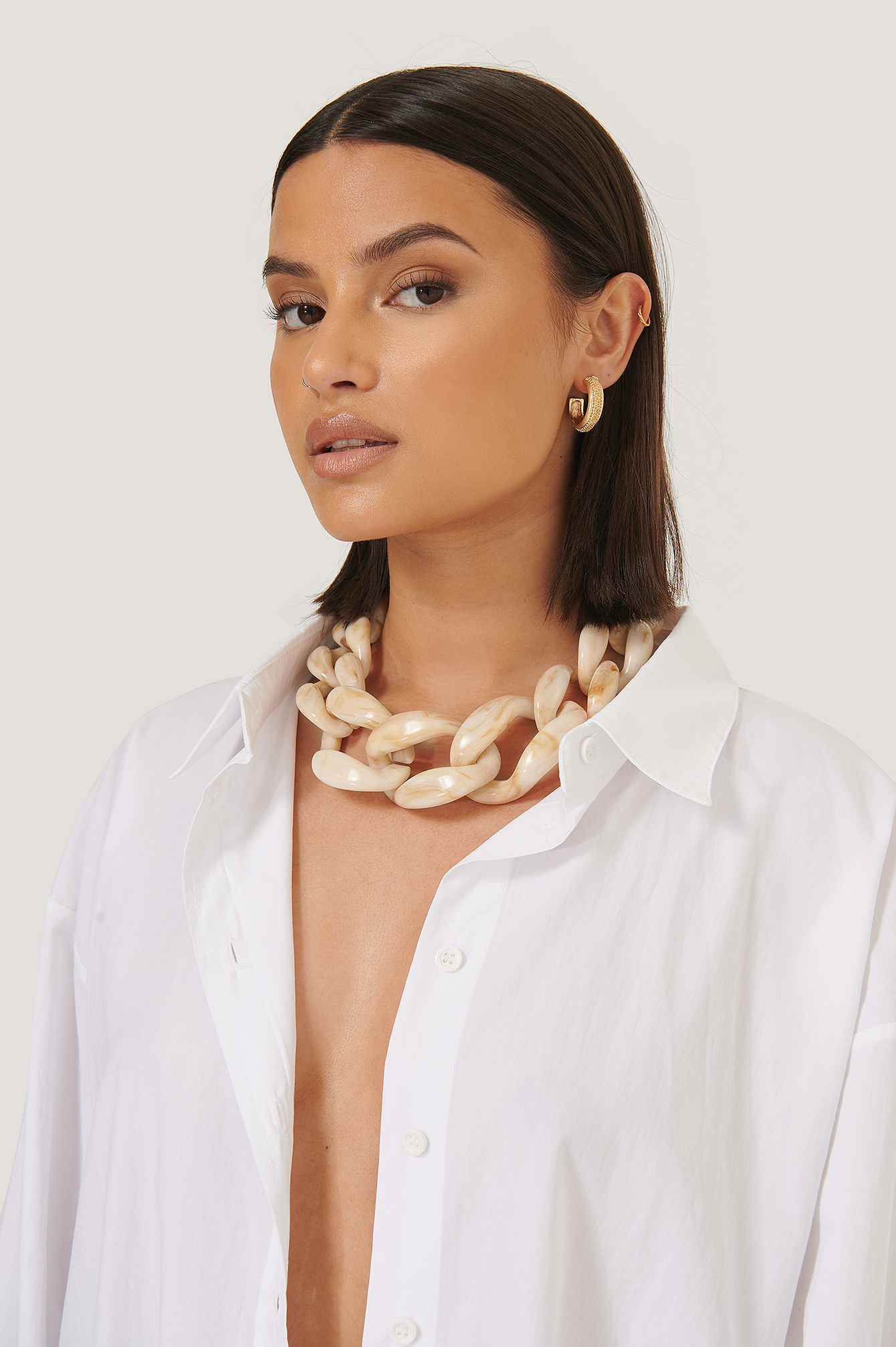 NA-KD Accessories 2-Pack Oversize Resin Necklace - Nude