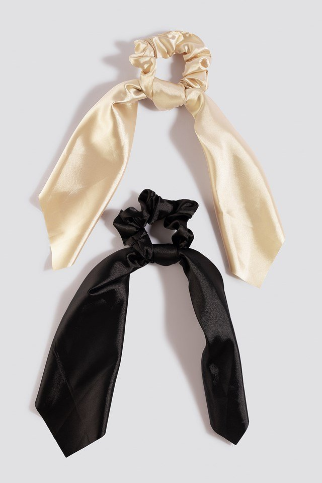 2-Pack Satin Bow Scrunchies Black/Nude