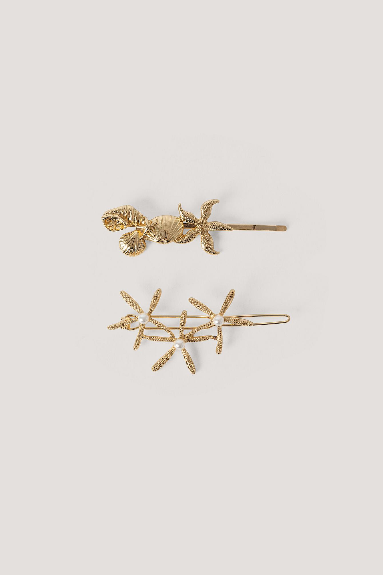 na-kd accessories -  2Er-Pack Seestern-Haarnadeln - Gold