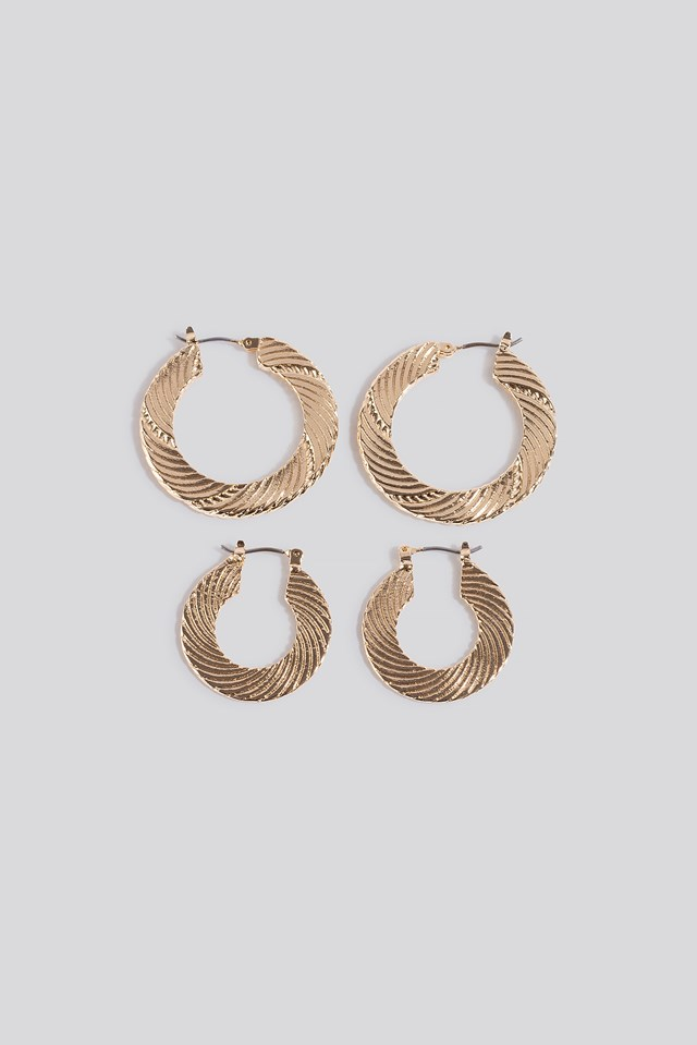 2-pack Structured Hoop Earrings Gold