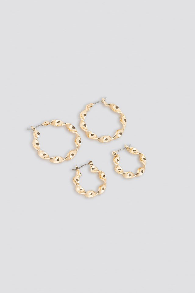 2-Pack Twisted Hoop Earrings NA-KD Accessories