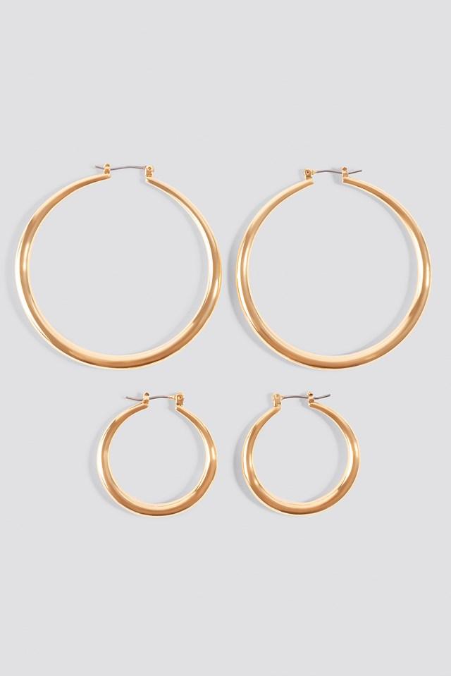 2-pack Uneven Hoop Earrings NA-KD.COM