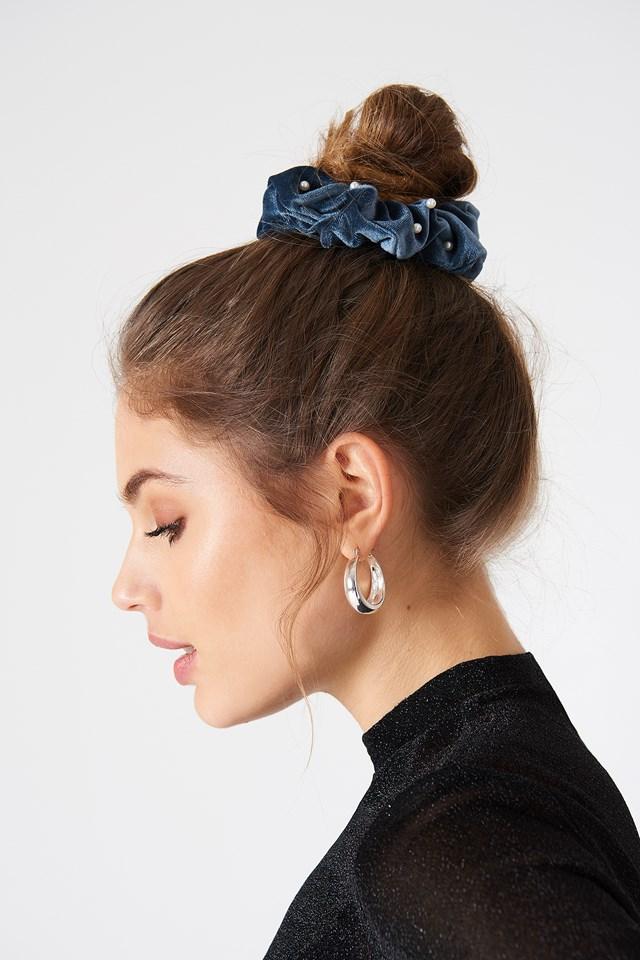 2-Pack Pearl Scrunchies Black/Blue