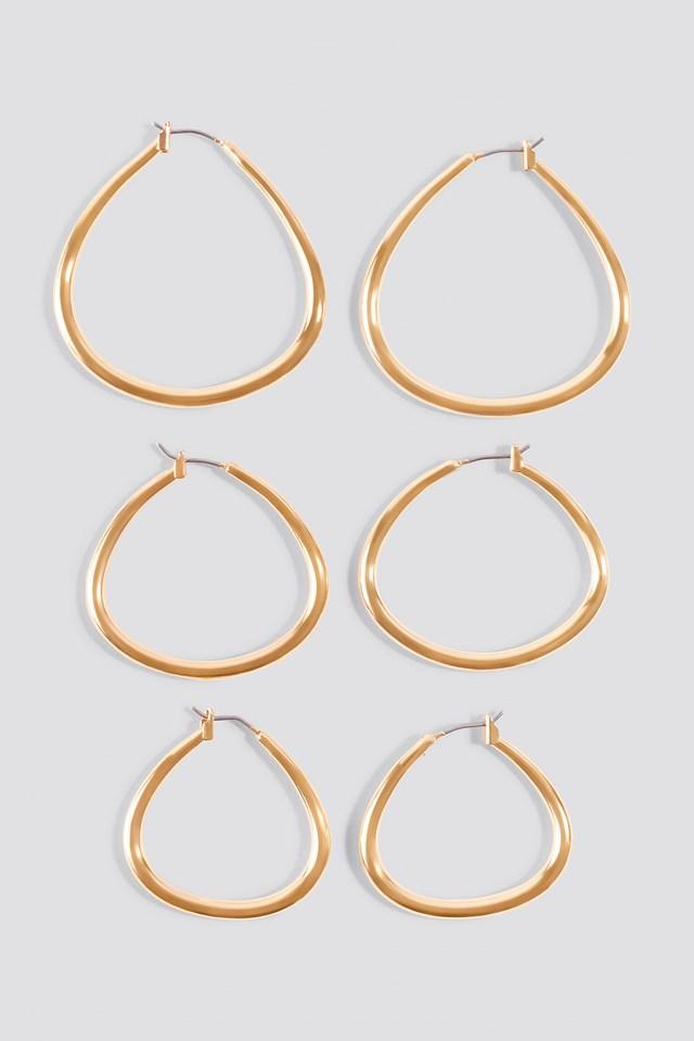 3-pack Asymmetric Mini Hoop Earrings NA-KD.COM