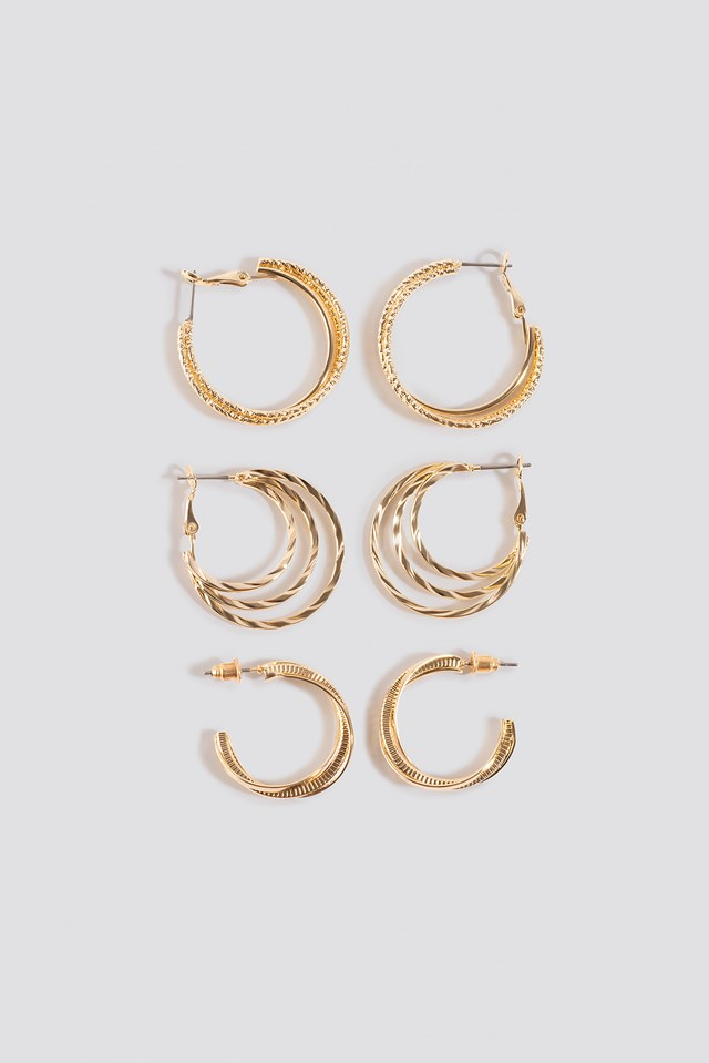 3-Pack Layered Hoop Earrings NA-KD Accessories