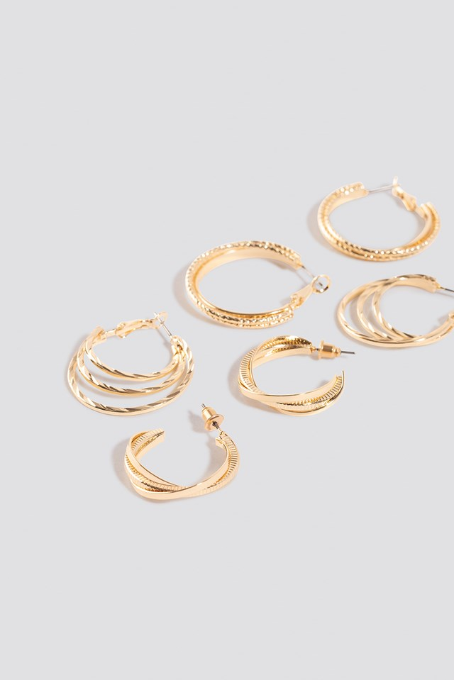3-Pack Layered Hoop Earrings Gold