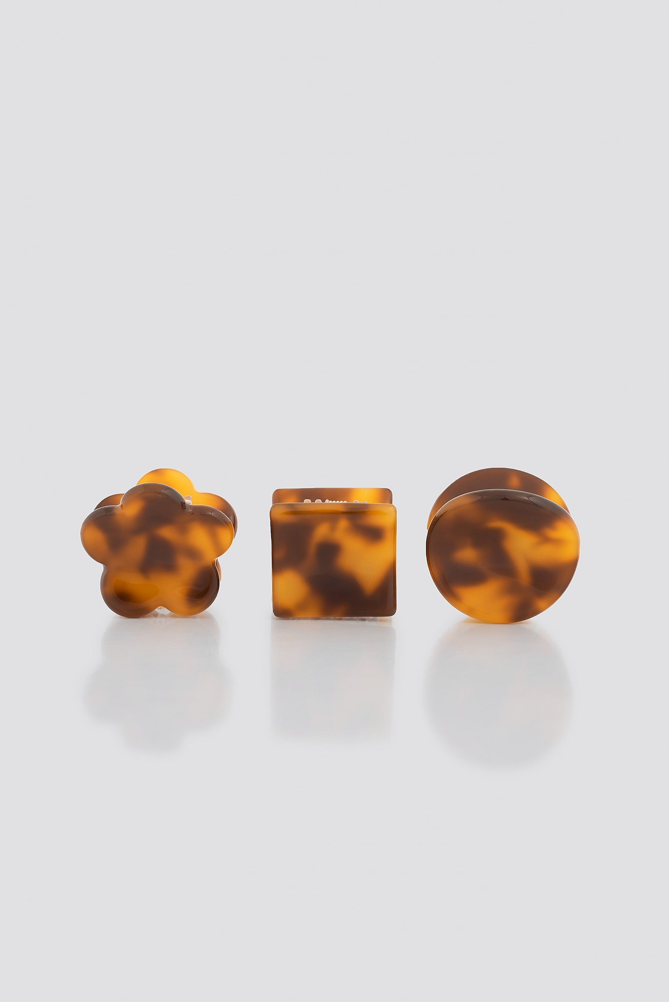 na-kd accessories -  3-Pack Mini Resin Hair Clips - Brown