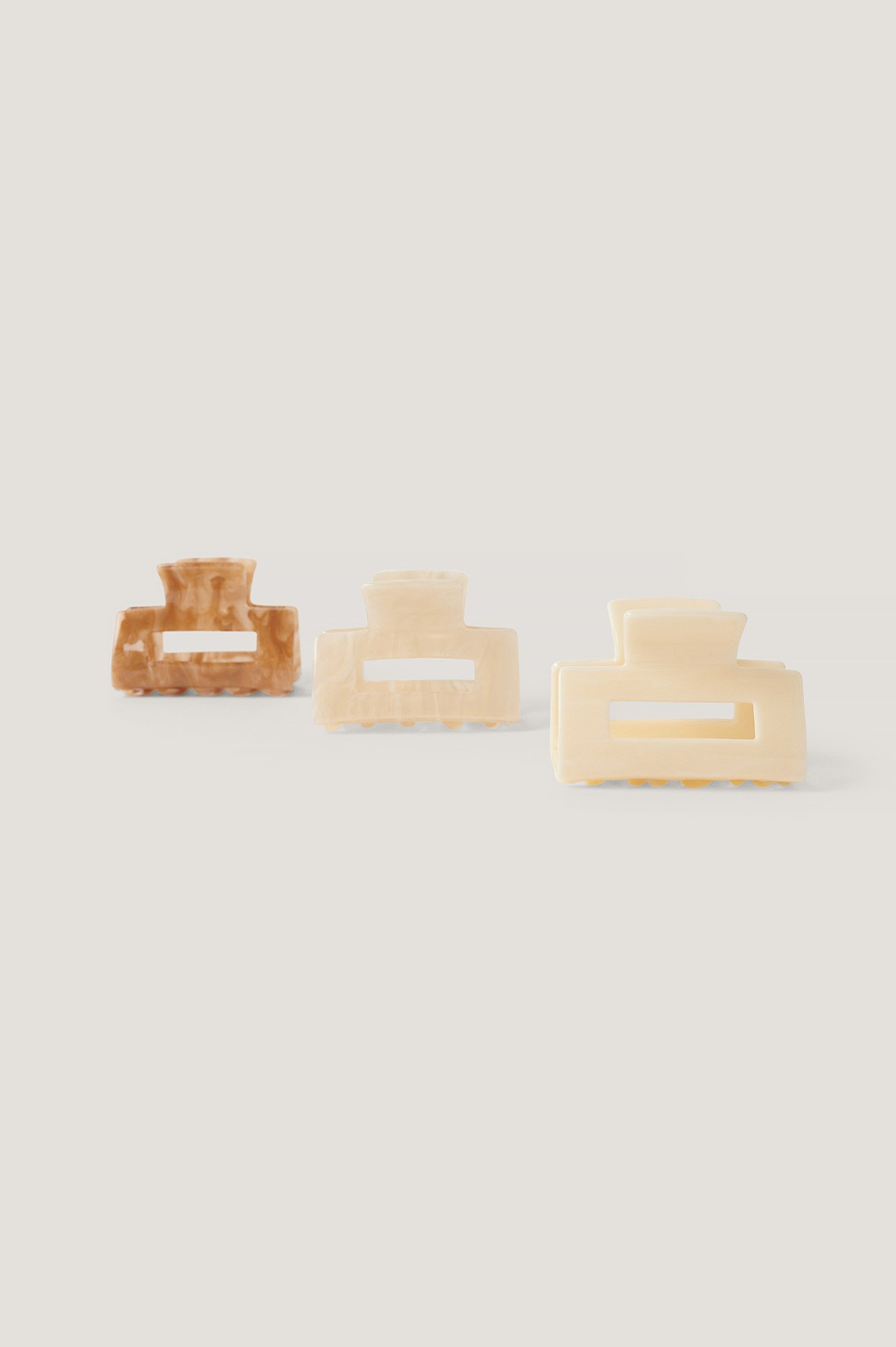 Beige/Brown 3-Pack Mini Squared Hairclips