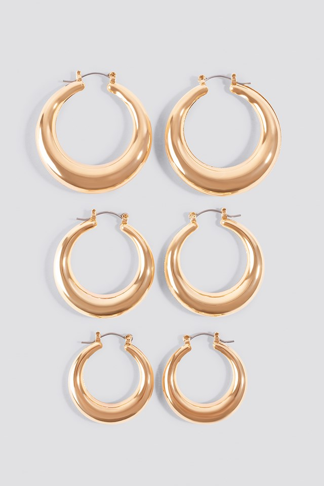 3-pack Small Thick Oval Hoops NA-KD Accessories