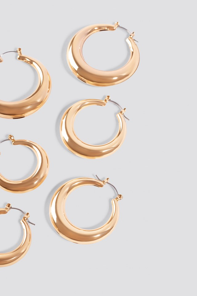 3-pack Small Thick Oval Hoops Gold