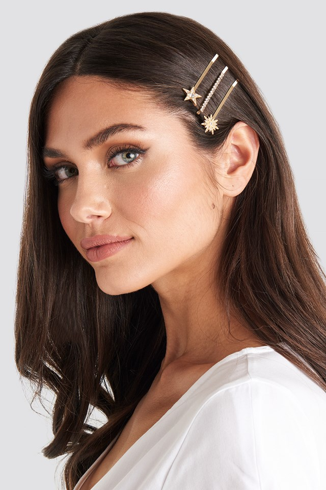 3-Pack Sparkling Hairpins NA-KD Accessories