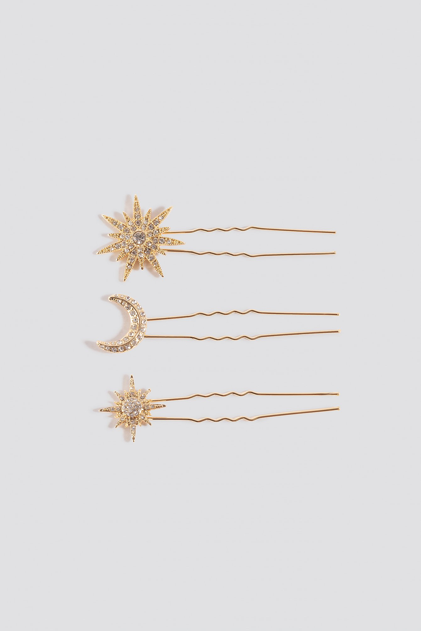 Na-Kd 3-Pack Sparkling Star Hairpins Gold