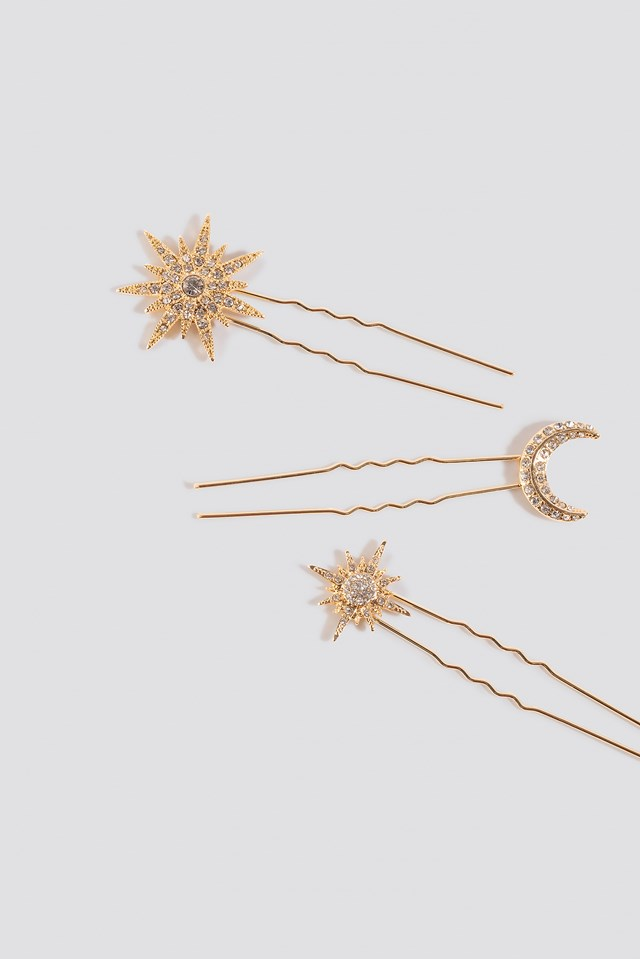 3-Pack Sparkling Star Hairpins Gold