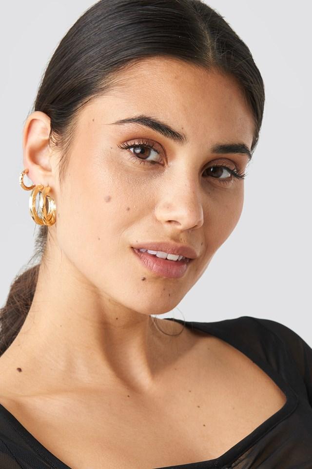 3-Pack Structured Hoop Earrings Gold
