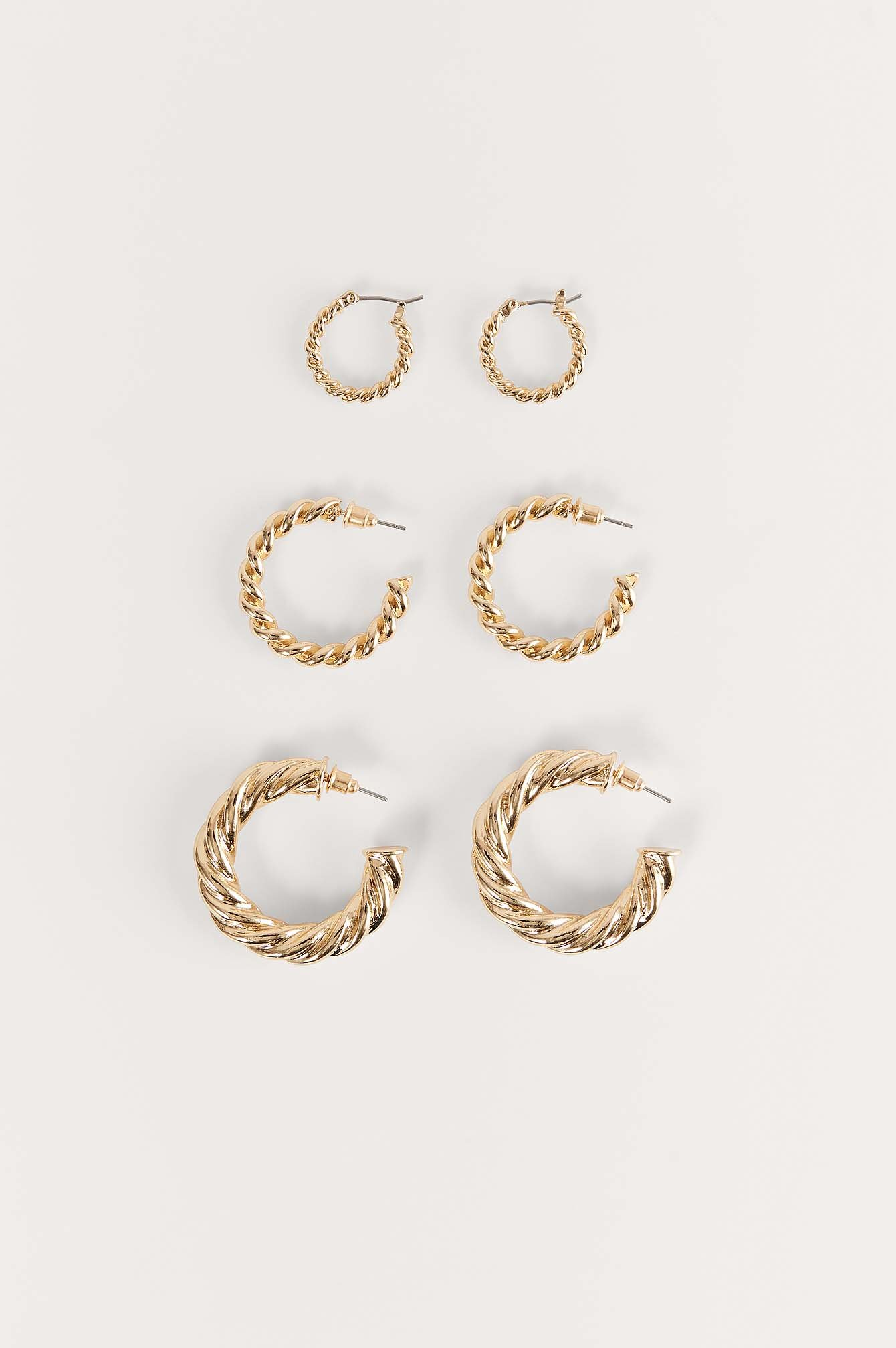 Gold 3-Pack Super Chubby Recycled Twisted Hoops