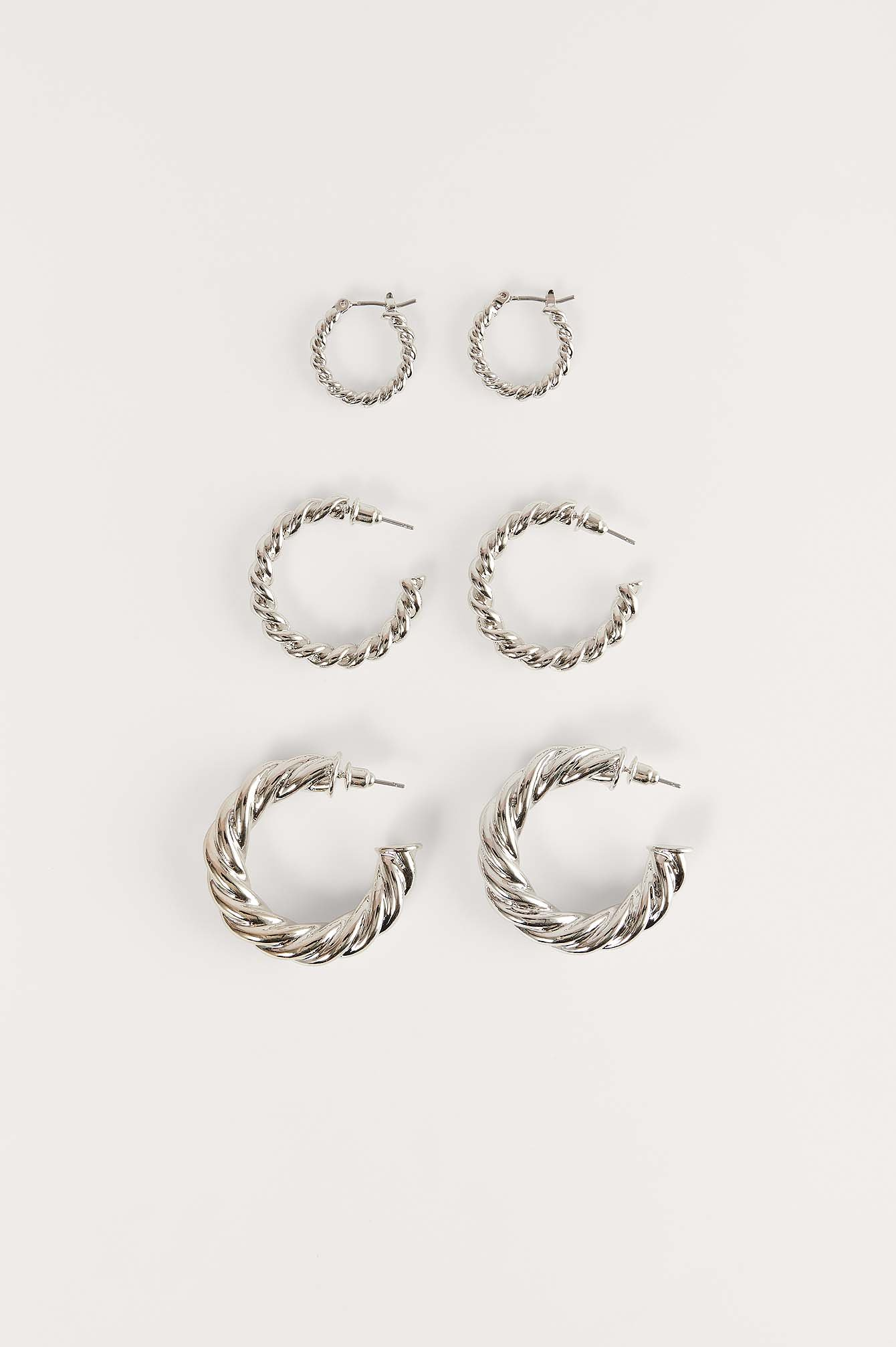 Silver 3-Pack Super Chubby Recycled Twisted Hoops