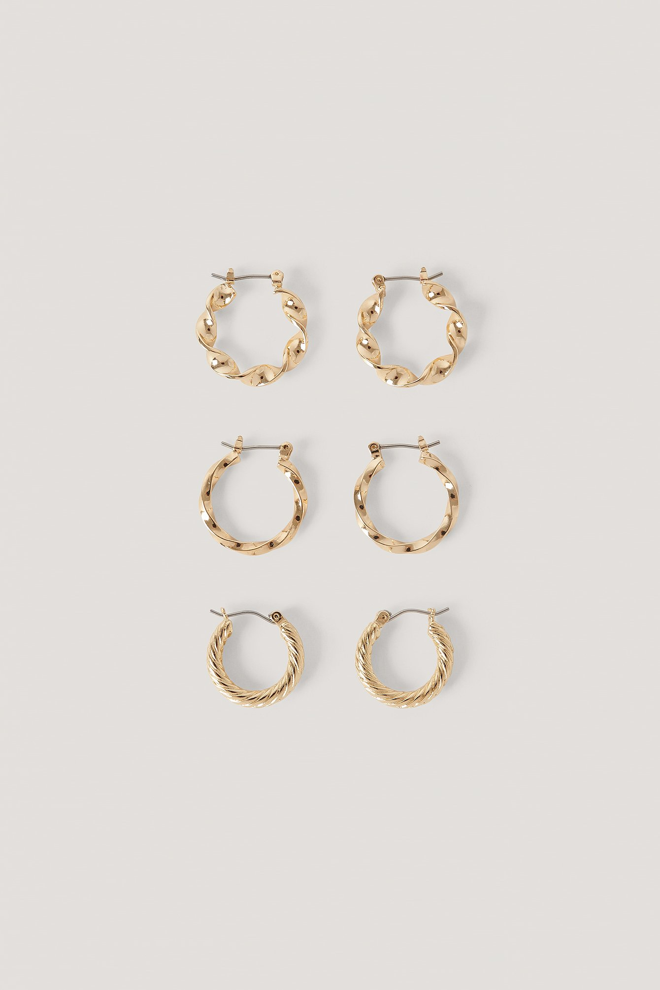 na-kd accessories -  3Er-Pack Verschiedene Kreolen - Gold