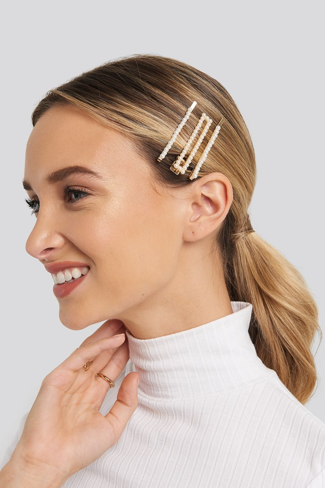 3-pack Pearl Covered Hairclips Gold