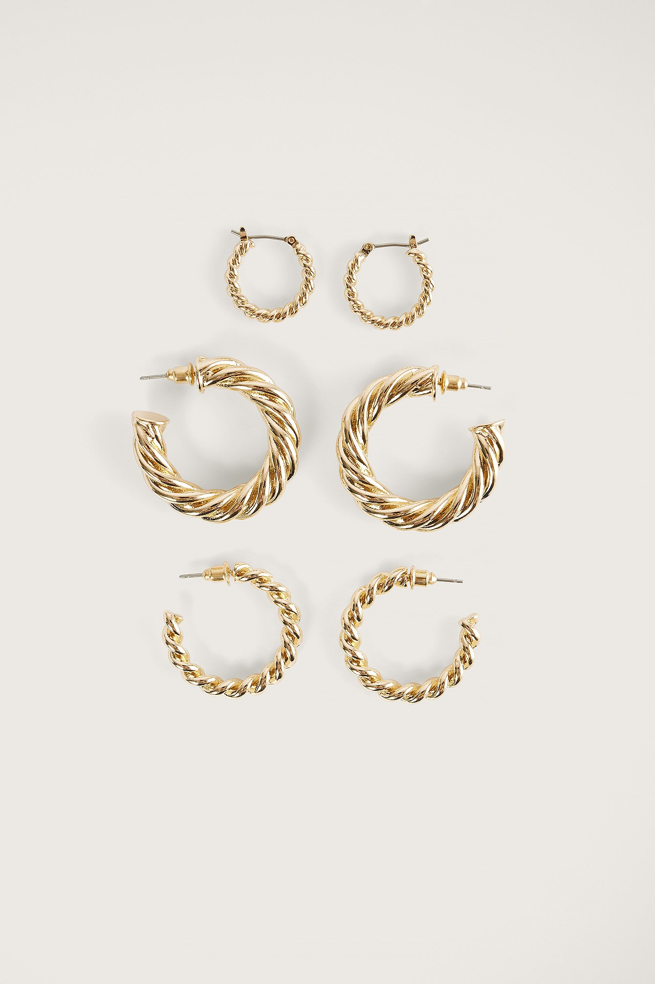 na-kd accessories -  3Er-Pack Chubby-Kreolen - Gold