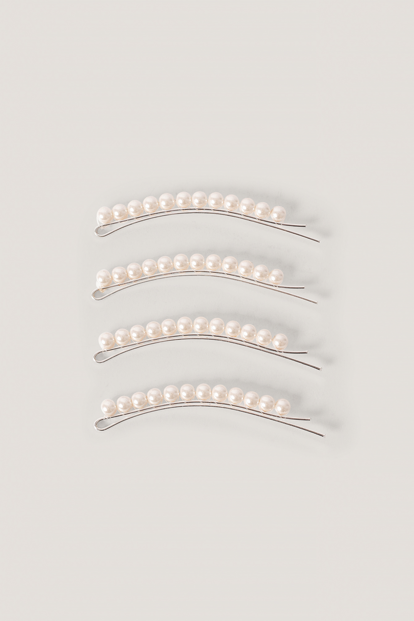 White 4-Pack Slim Pearl Hairpins