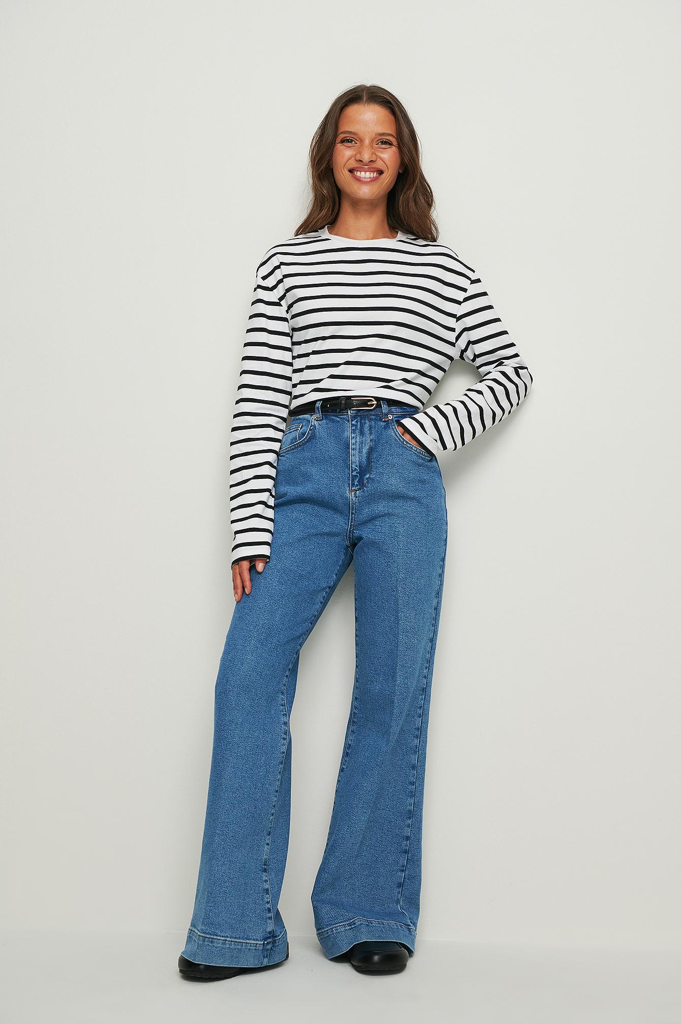 NA-KD Trend Genanvendte 70'ernes Jeans Med Vide Ben - Blue