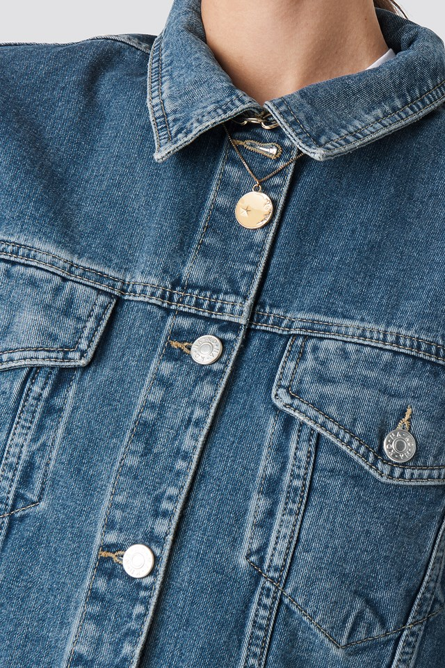 80's Trucker Denim Jacket Mid Blue