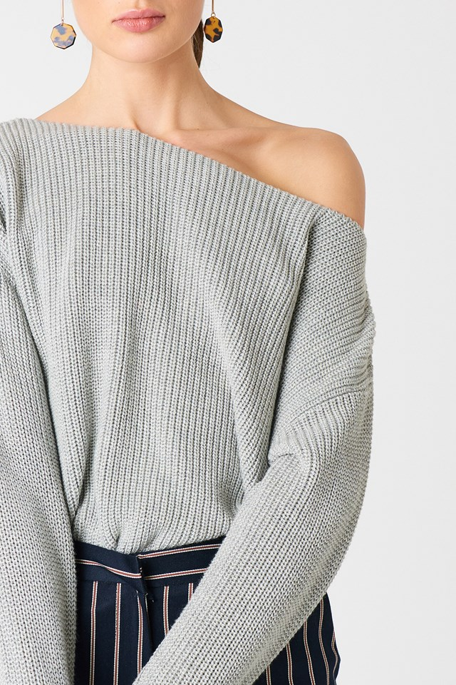 Krótki sweter z dzianiny Grey Melange