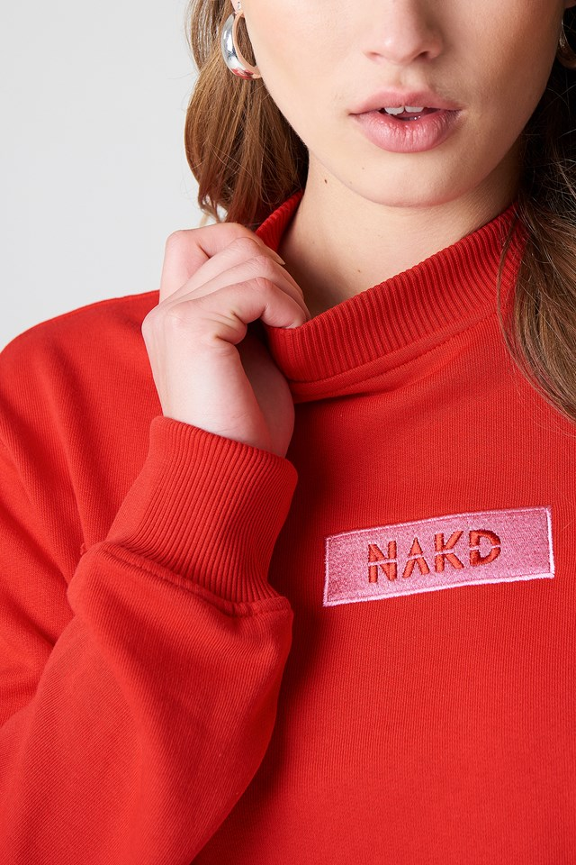 NA-KD Logo Sweater Red