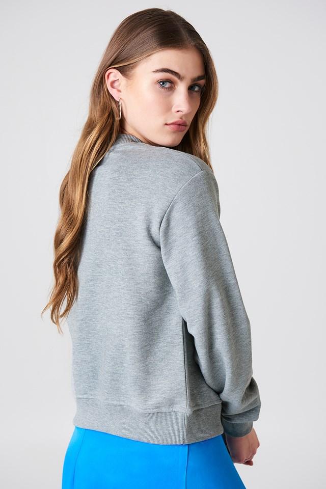 NA-KD Logo Sweater Grey Melange