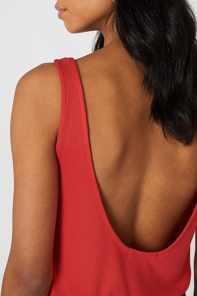 Ribbed Low Back Tank Top Red