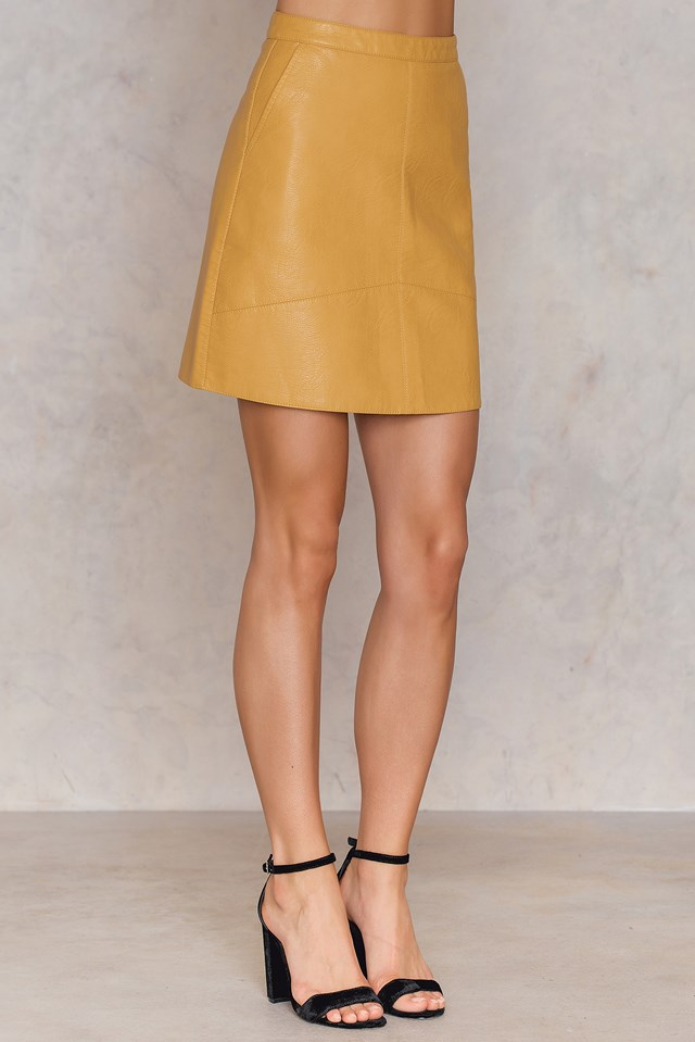 A-line Short PU Skirt Yellow
