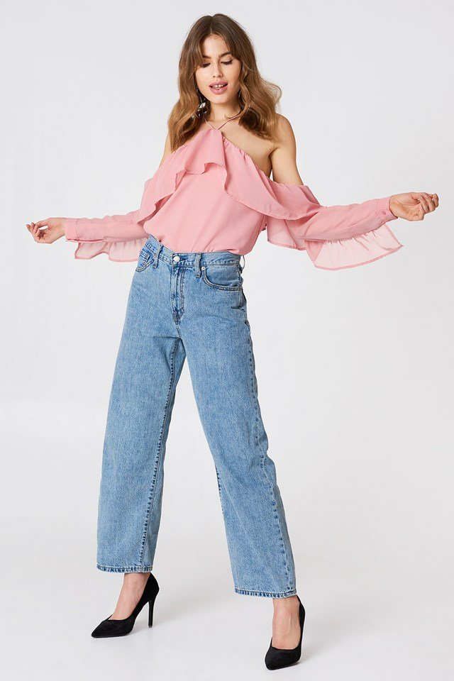 A-Neck Frill Sleeve Blouse Dusty Pink