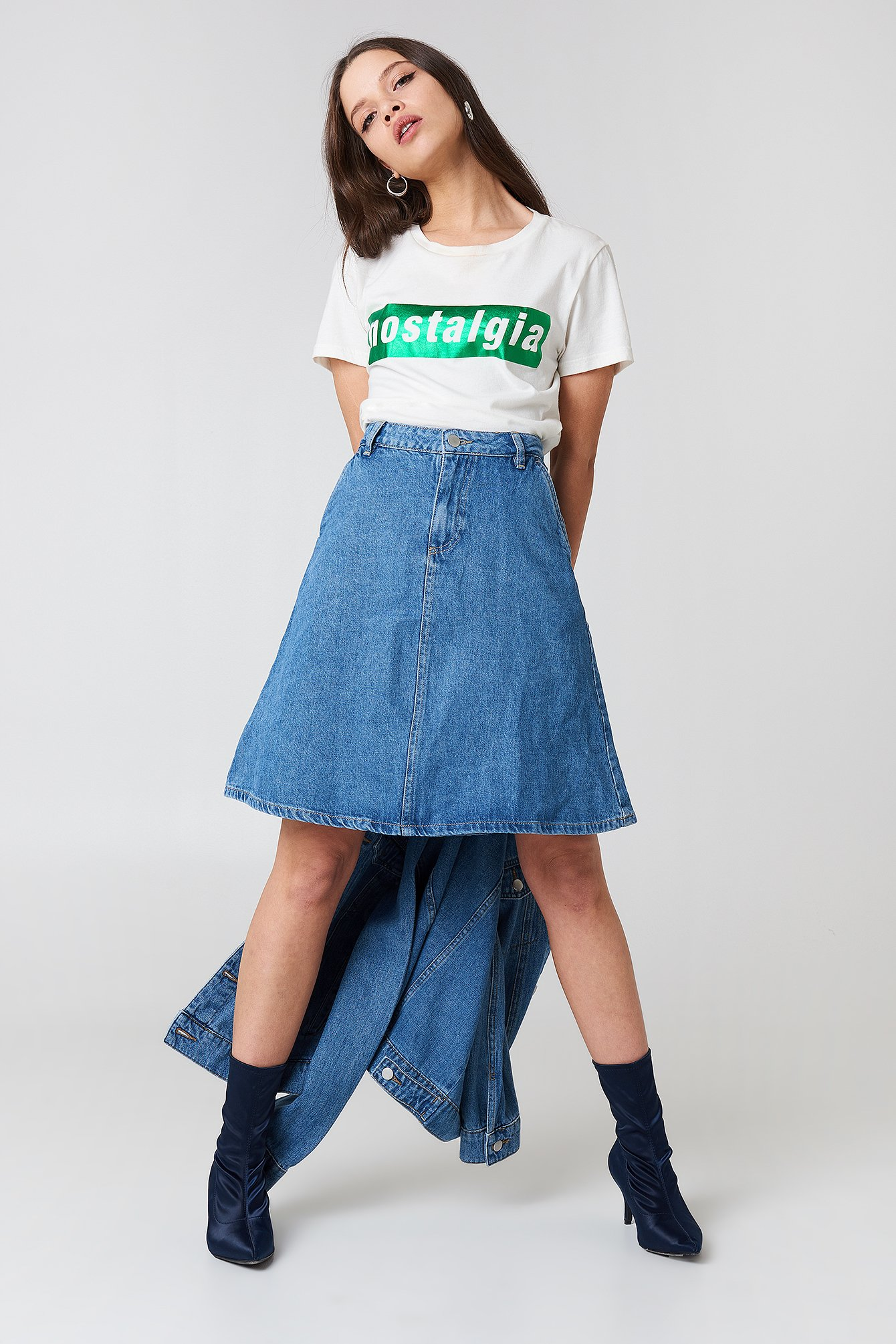 A-line Midi Denim Skirt NA-KD.COM