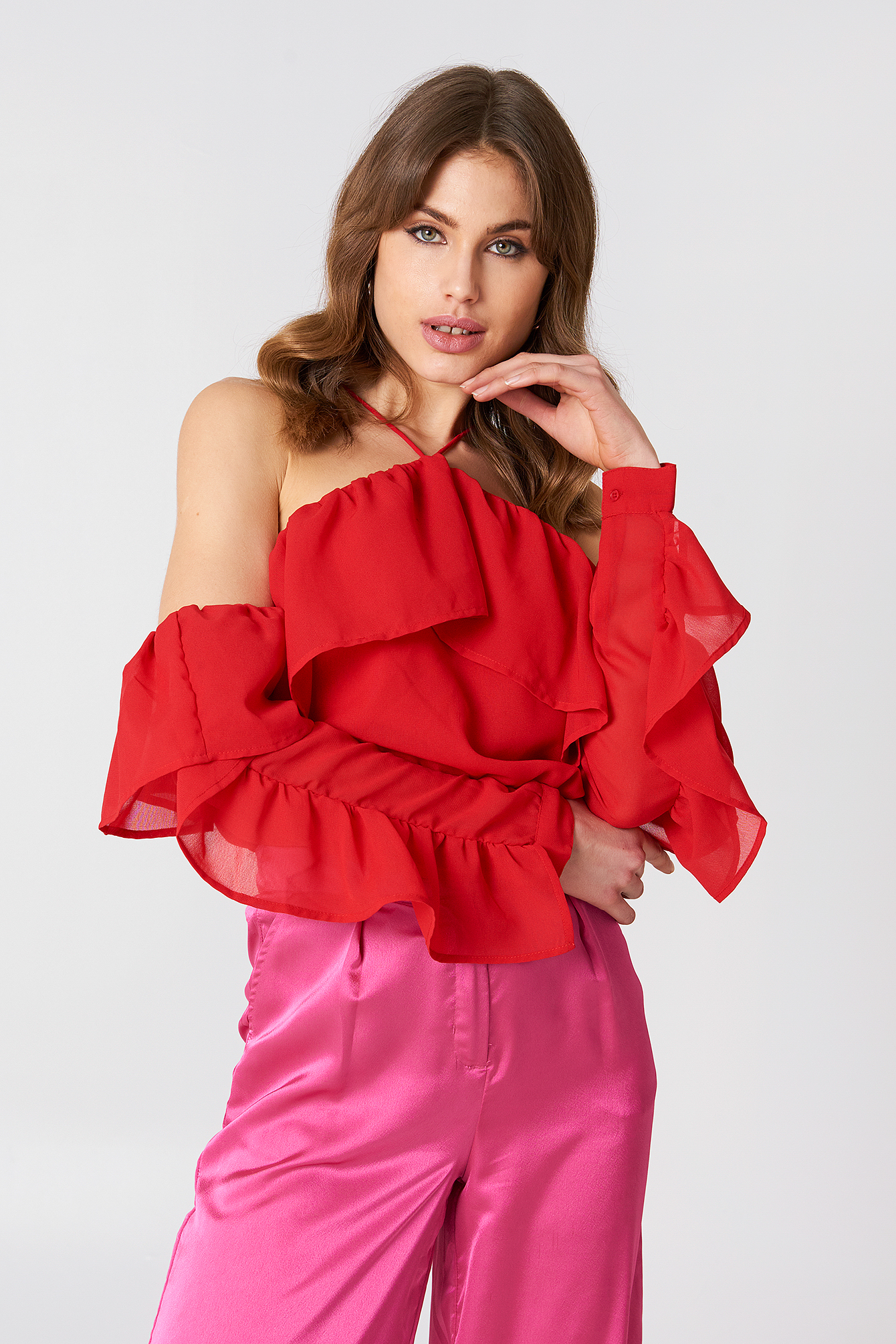 A-Neck Frill Sleeve Blouse