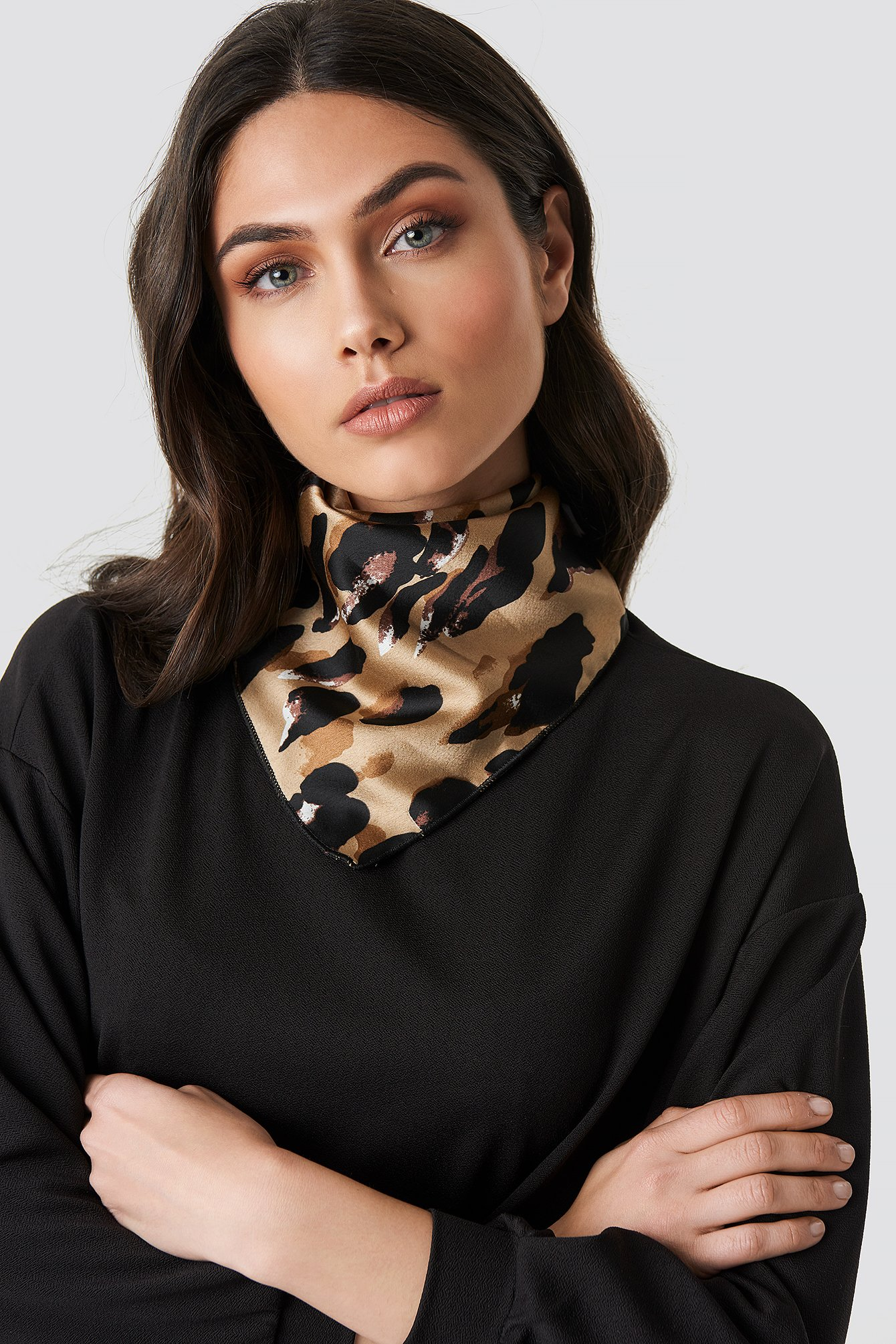 Abstract Leo Print Satin Scarf NA-KD.COM