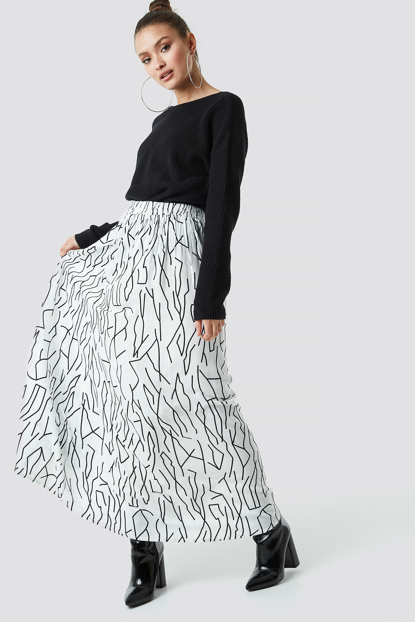 Abstract Print Maxi Skirt NA-KD.COM