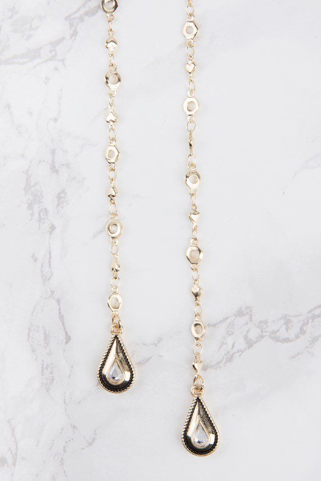 Double Hanging Drop Necklace Gold