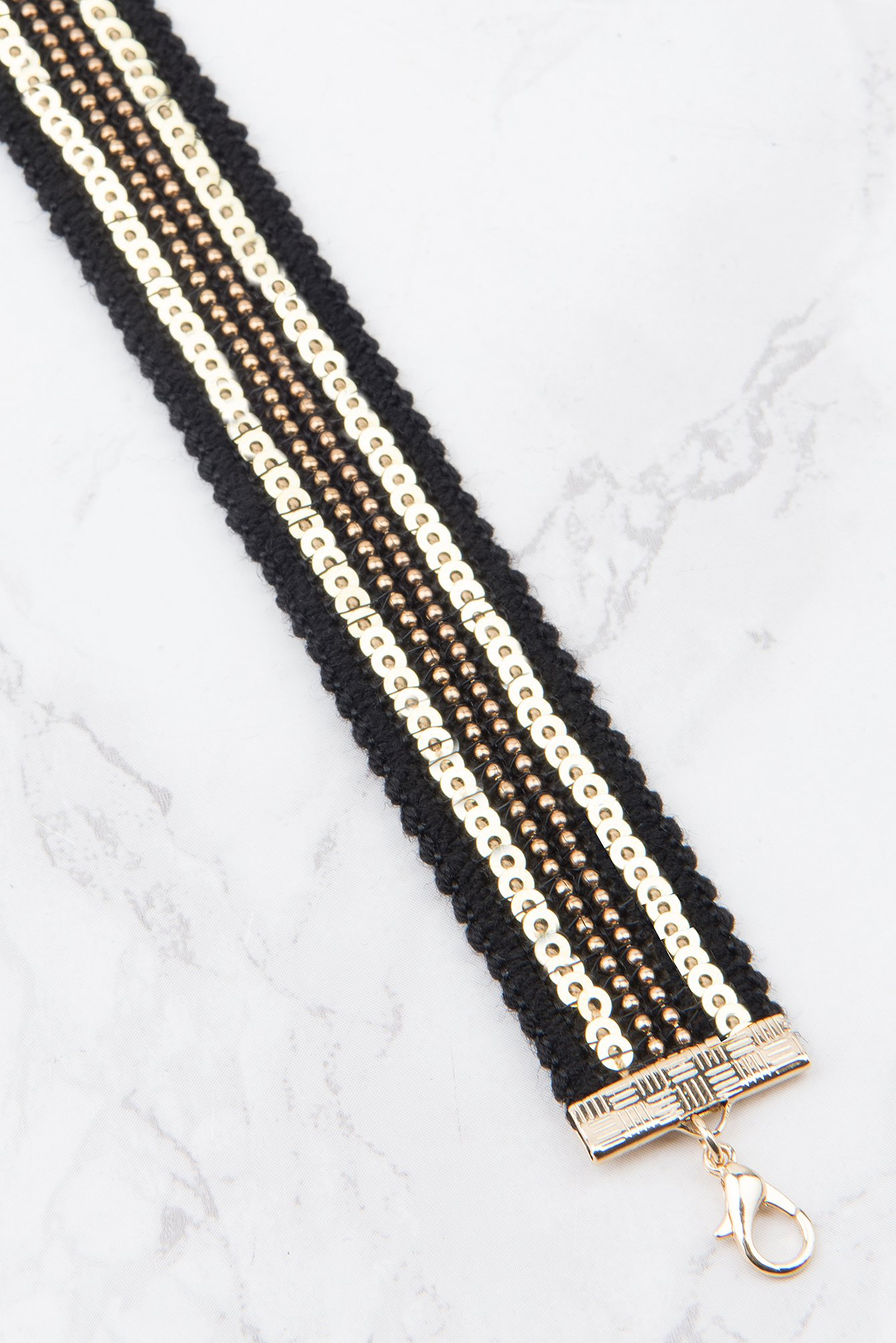 Black Sequins Row Choker