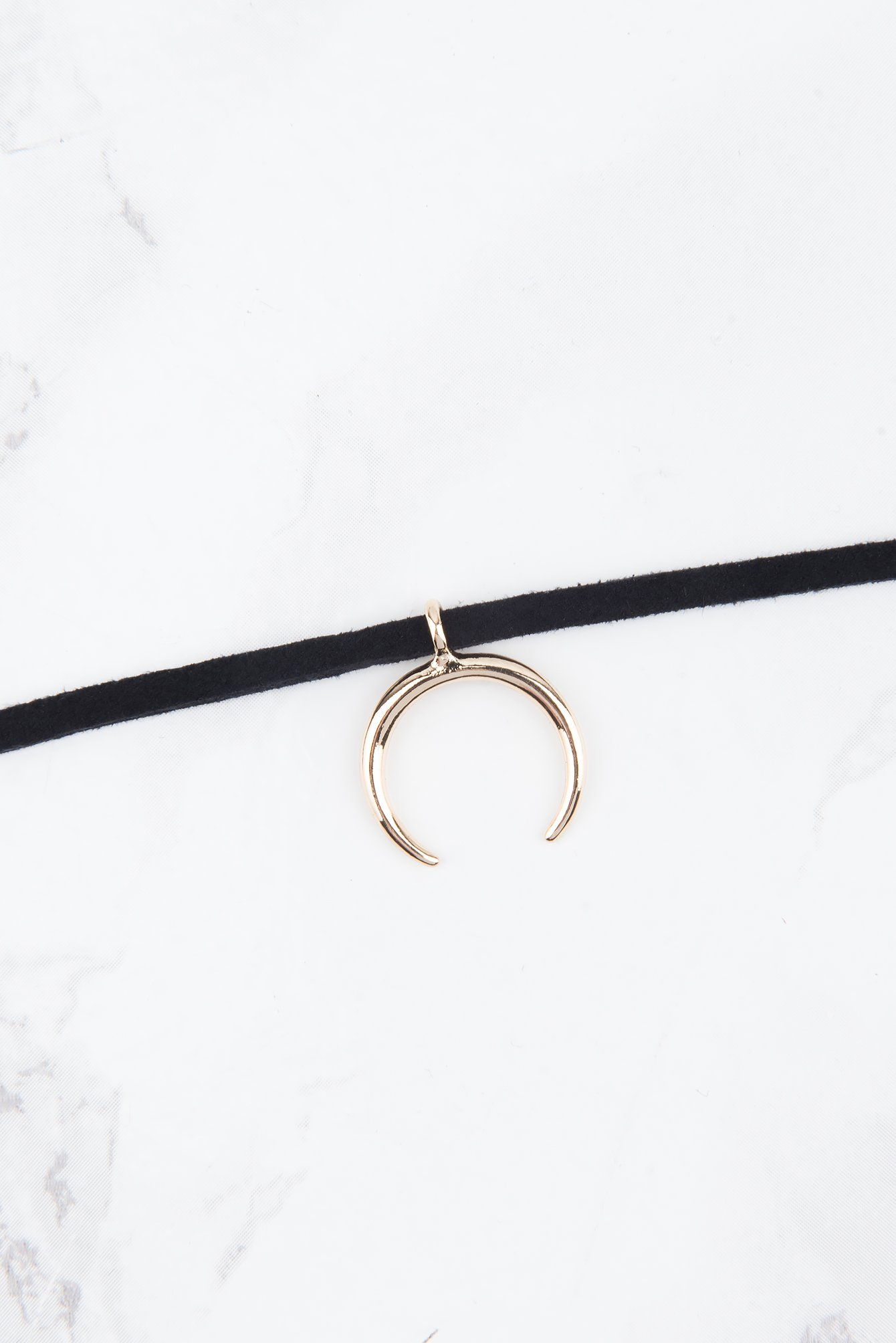 Black Suede Necklace With Crescent Pendant
