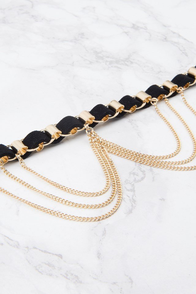 Suede Necklace with Hanging Chains Black