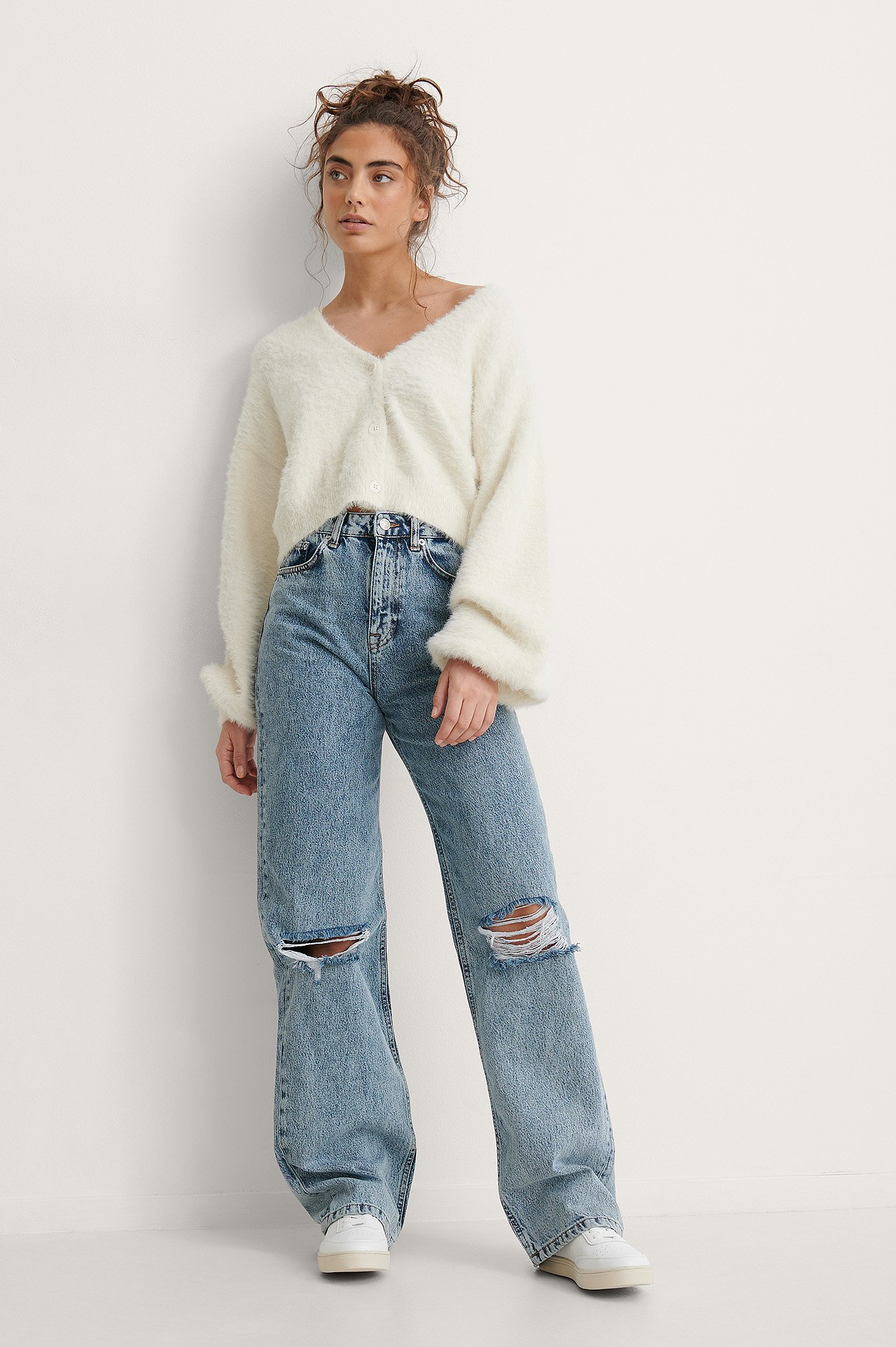 Mid Blue Acid Wash Wide Leg Destroyed Jeans